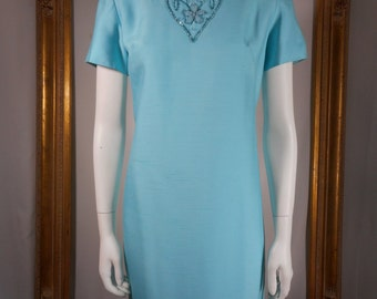 Vintage 1960's Samuel Grossman Turquoise Dress & Coat Set - Size 12