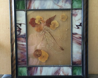 Wood Framed Glass Pressed Flower Wall Art