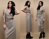 80s 90s Vtg METALLiC Silver FiSHNET Midi Column Dress / Goddess CHAiNMAIL Avant Garde Gown Sleeveless / Sm - Med