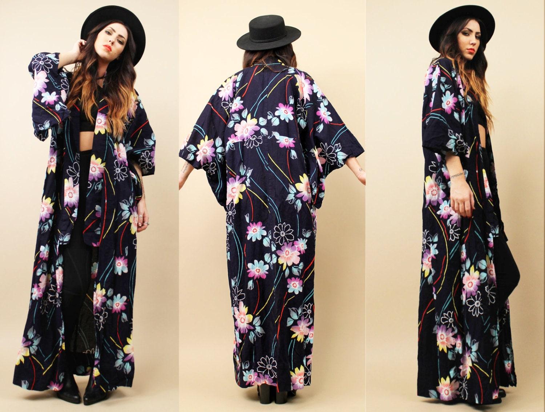 70s Vtg Cotton Floor Length Kimono Duster Jacket By