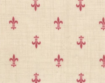 FRENCH GENERAL FAVORITES Moda by the half yard cotton quilt fabric Faded red fleur de lis on pearl cream 13605-21