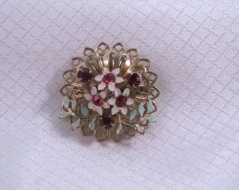 c1940's Red Rhinestone Floral Bouquet Brooch