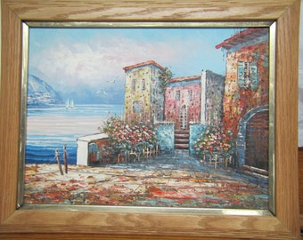 Listed Artist R. Danford Oil on Canvas, Seaside Villa Painting