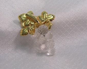 1980's Swarovski Crystal Grape Cluster Brooch