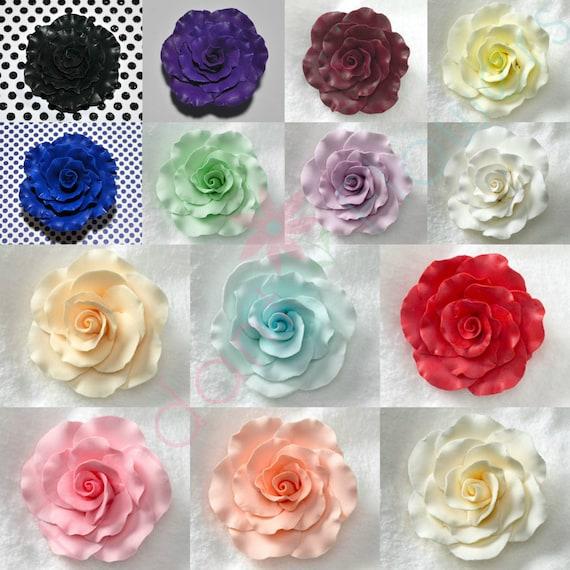 Cake Decorating With Gumpaste Flowers : 6 Gumpaste 2 Roses Flower Spray Fondant Cake by FondantFlower