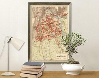 Old map of Biella, Italy - Archival print - Pianta della citta di Biella