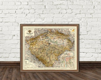 Bohemia map (Czech Republic) - Vintage map print - 16 x 19 ""