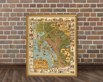 San Diego map - Illustrated map - Old map of San Diego print - Pictorial map fine print
