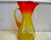 Large Blenko amberina pitcher paneled pattern midcentury vintage glass