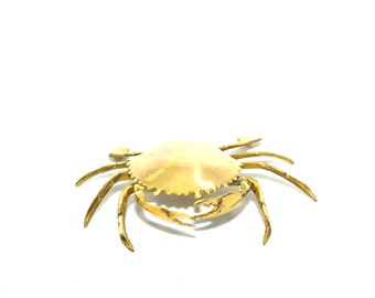 Vintage Brass Crab Brass Crab Ashtray Crab Trinket Box Crab Figurine Nautical Ashtrays Tobacciana