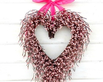 Valentines Day Wreath-Pink Heart Wedding Wreath-Heart Wreath-Wedding Decor-Say I LOVE YOU-Gift for Mom-Wedding Gift-Housewarming Gift