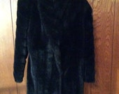 Style Vl Ltd Black Faux Fur Walking/Three Quarter Coat RN 49046
