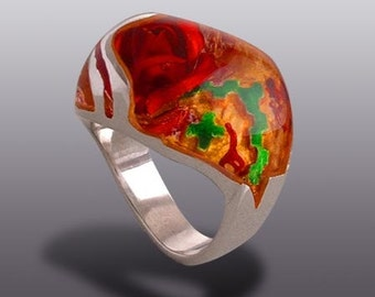 Sculptured Rose Ring.   Silver Art.