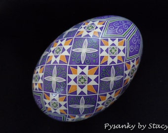 Pysanky Goose Egg Purple Butterflies and Stars