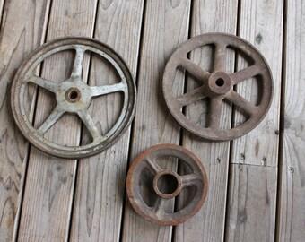Super Cool Lot of 3 Vintage Industrial Style Metal Rustic Wheels or Pulley's