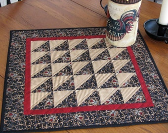 Quilted Table Topper/Table Runner Americiana Primitive Half Square Triangle Quilted Primitive Decor French Country/Cottage Chic Table Runner