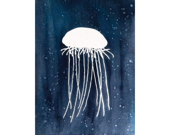 Jellyfish Silhouette 4x6 8x10 Print, Blue Nautical Wall Decor, Ocean Watercolor Print, Beach house Wall Art, Minimal Modern Contemporary Art