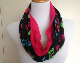 Two Tone Multi Color Love and Peace Print Stretch Jersey Knit Infinity Scarf