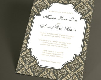 Vintage Wedding Invitations with Damask Frame, Traditional Wedding Stationery Suite has Vintage Inspired Charm. You Choose the Color
