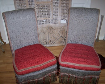 mid-century modern pair of chairs,art deco style chairs,vintage slipper glamour chairs,armless chairs, funky parlor chairs,vintage chairs