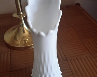 """Fenton Glass Hobnail Swung Vase 11"""" Ultra White Perfect For Entertaining Weddings Special Occasions"""