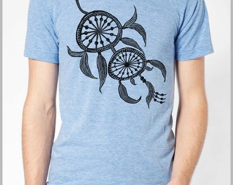 Dream Catcher Feathers T Shirt Unisex Men's DreamCatcher American Apparel Shirt Hand Printed Tshirt xs, s, m. l. xl Spring 2015