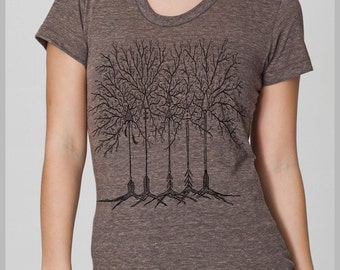 Arrow Trees Women's Boho T Shirt Arrowhead Feathers Ladies Nature American Apparel Tee s, m, l, xl  8 COLORS
