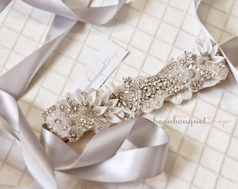 "Bridal Sash Crystal Bridal Beaded Crystal Sash Wedding Sash 17"" Wedding Belt Wedding Accessories Bridal Accessories Sash for Wedding Dress"