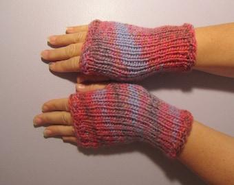 Fingerless Gloves - Pink, Grey, Blue Hand Knit Fingerless Gloves