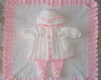 Baby Girl  Layette Blanket and Sweater Set with Leggings Outfit Perfect Baby Shower Gift for Coming Home