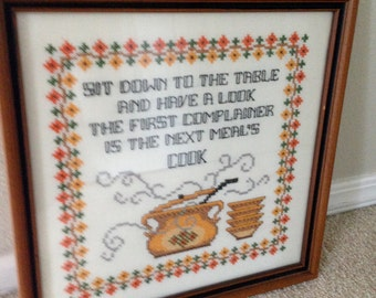 Vintage embroidery framed kitchen saying next meals cook cross stitch
