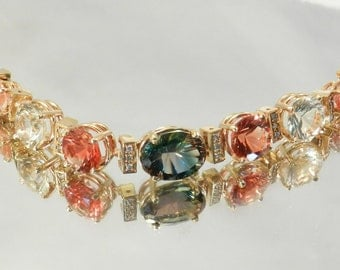 Oregon Sunstone and Diamond Bracelet