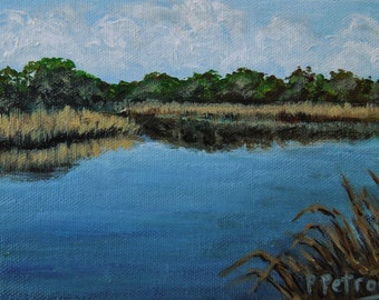 Charleston, SC Marshland Painting, is a One of a Kind Original Acrylic Painting
