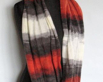 Gray Orange Striped Infinity Scarf Cowl Wrap Light Dark Gray White Brown
