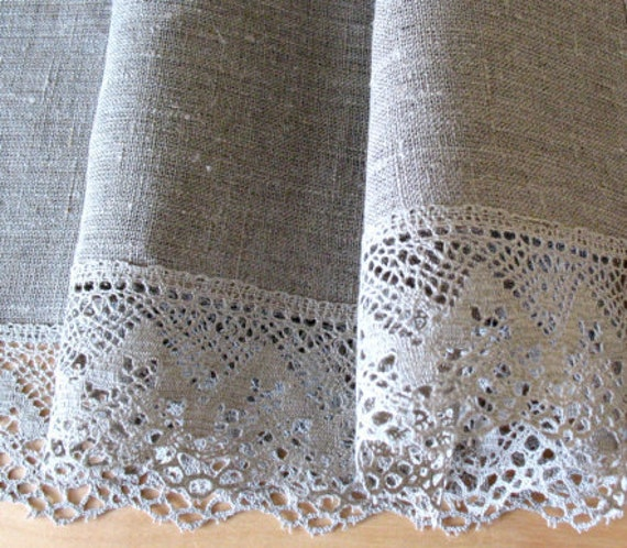 Round Linen Tablecloth Burlap Checked Natural Gray Prewashed Linen Lace