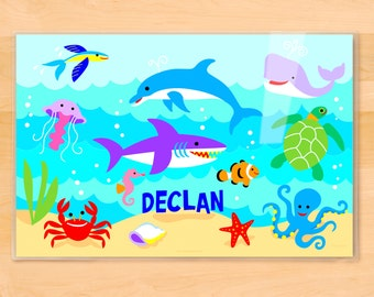 Olive Kids Personalized Ocean Placemat, Laminated Placemat, Shark Placemat, Dolphin Placemat, Kids Mealtime Placemat