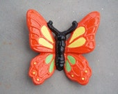 Cast Iron Butterfly, Monarch Butterfly, Home Decor, Garden Decor, Orange, Yellow, Green