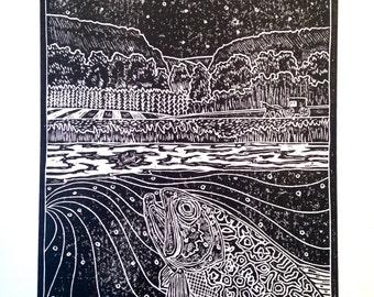 Driftless Night fly fishing artwork by Jonathan Marquardt of BadAxeDesign Driftless Region of Wisconsin
