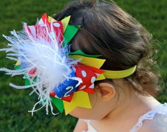 Rainbow Birthday Headband - 2nd Birthday Bow -  Second Birthday Headband