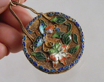 Vintage Chinese Enameled Gilt Filigree Purse Pendant with Butterflies and Flowers......   Lot 3955