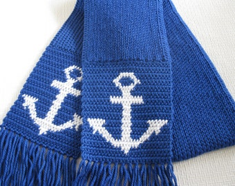Knit Anchor Scarf.  Royal blue knitted scarf with crochet anchors.