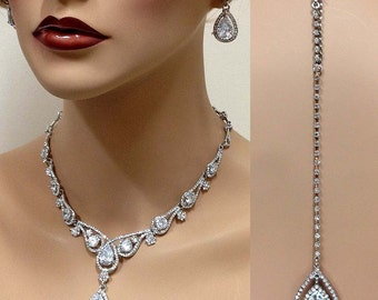 Bridal jewelry set, Wedding jewelry, vintage inspired back drop necklace earrings, crystal necklace, bridesmaid jewelry set