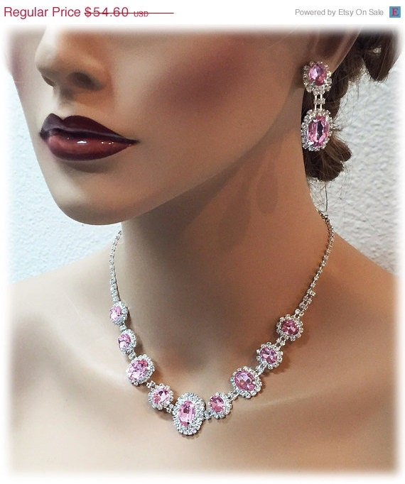 Wedding jewelry set pink necklace and earrings by glamduchess for Pink wedding jewelry sets