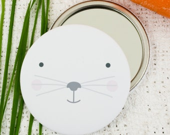 Rabbit Face Pocket Mirror or Magnet. Bunny Mirror. Easter Gift.