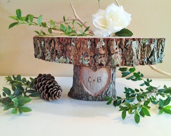 "TREASURY ITEM - 12"" Rustic Wedding Cake Stand   - Engraved cake stand - Heart cake stand -Wood Cake stand - Country wedding"
