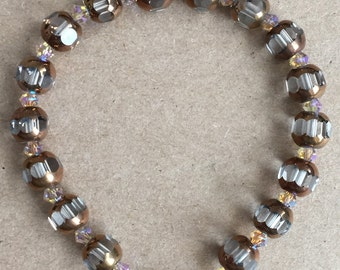 Metallic/Clear Glass Beads with Light Brown Swarovski Crystal Bracelet