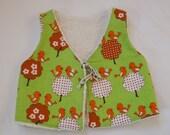 70s orig fabric Vest Flowers & BIRDS  Sz 2,5 - 3,5Y ( EU 86-98)