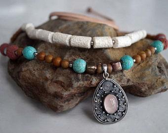 Boho Stone Necklace, Rose Quartz, Sterling Pendant, Turquoise, Turquoise & Lava Stone Collar Necklace