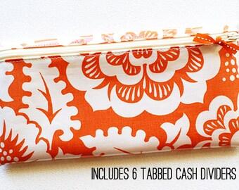 Cash organizer, 6 dividers | water resistant laminated cotton in orange floral
