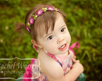 You Pick 1 Flower Halo Baby Headband. Newborn Headband. Baby Girl Bows. Infant Headband. Baby Hairbows. Baby Hair Accessories. Shabby Floral